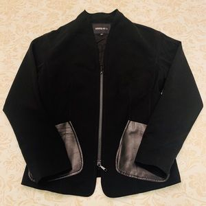 Black Zip Up Jacket With Leather Pockets